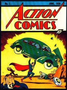 Cover of the comic book in which Superman first appeared.
